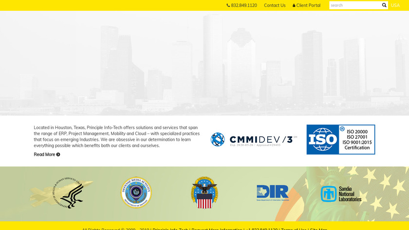 Principle InfoTech Landing Page
