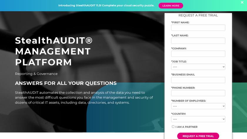 StealthAUDIT Management Platform Landing Page