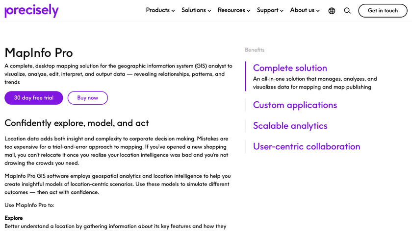 MapInfo Pro Landing Page