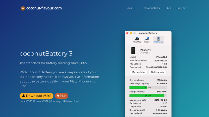 coconutBattery Landing Page