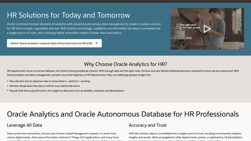 Oracle Human Resources Analytics Landing Page