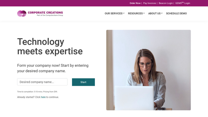 Corporate Creations Landing Page