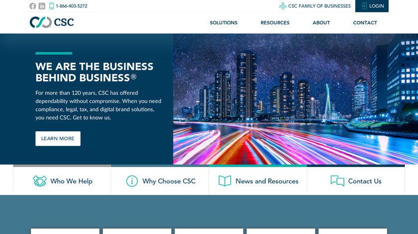 CSC Business Services Landing Page