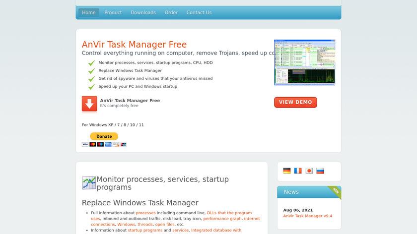AnVir Task Manager Landing Page