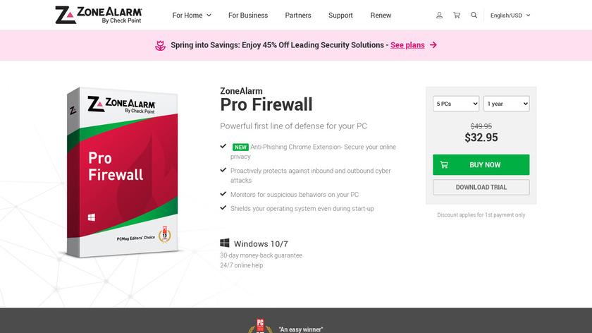 ZoneAlarm Pro Firewall Landing Page
