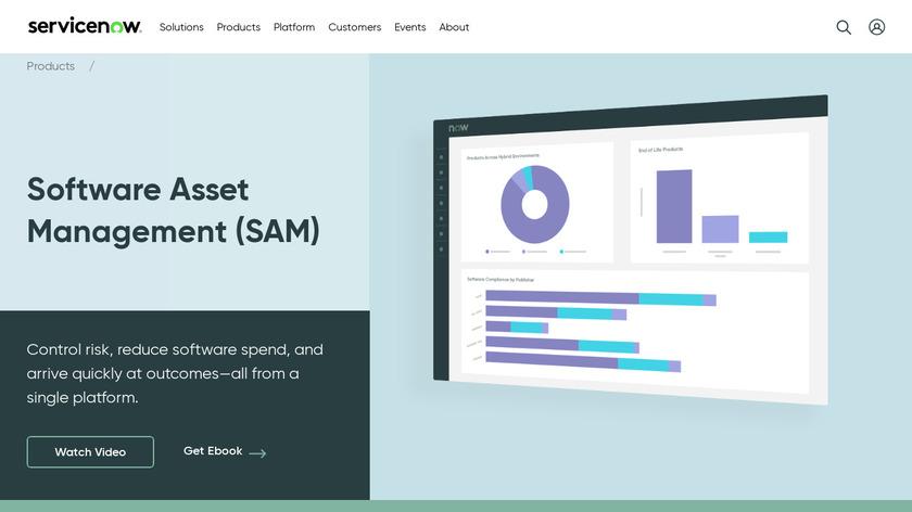 ServiceNow Software Asset Management Landing Page