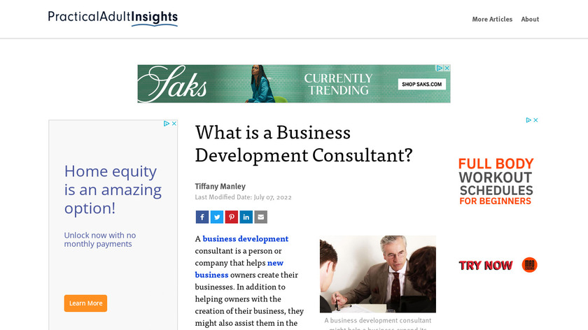 Business Development Consulting Landing Page