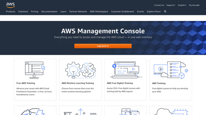 AWS Management Console Landing Page