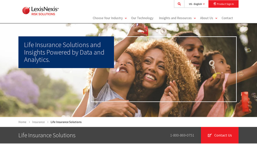 LexisNexis Life Insurance Solutions Landing Page