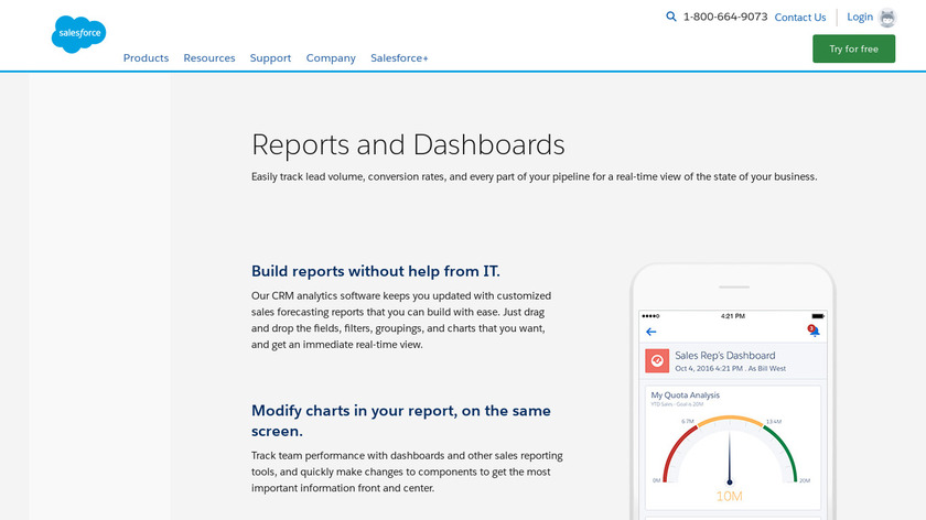 Salesforce Sales Analytics Landing Page