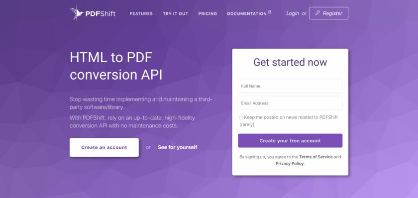 PDFShift Landing Page