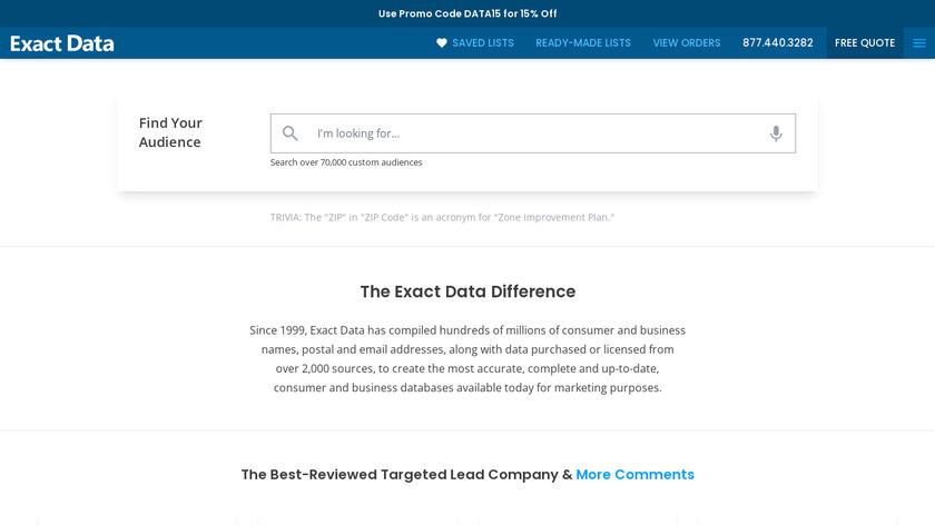 Exact Data Landing Page