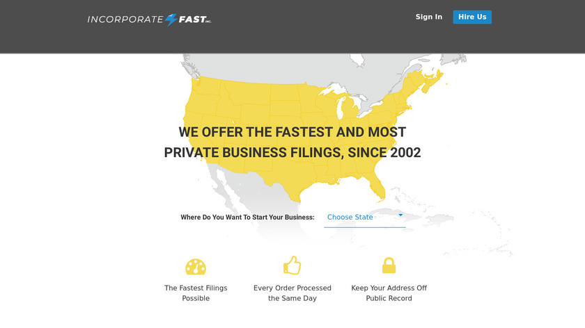 Incorporate Fast Landing Page