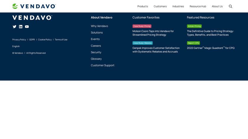 Vendavo CPQ Cloud Landing Page