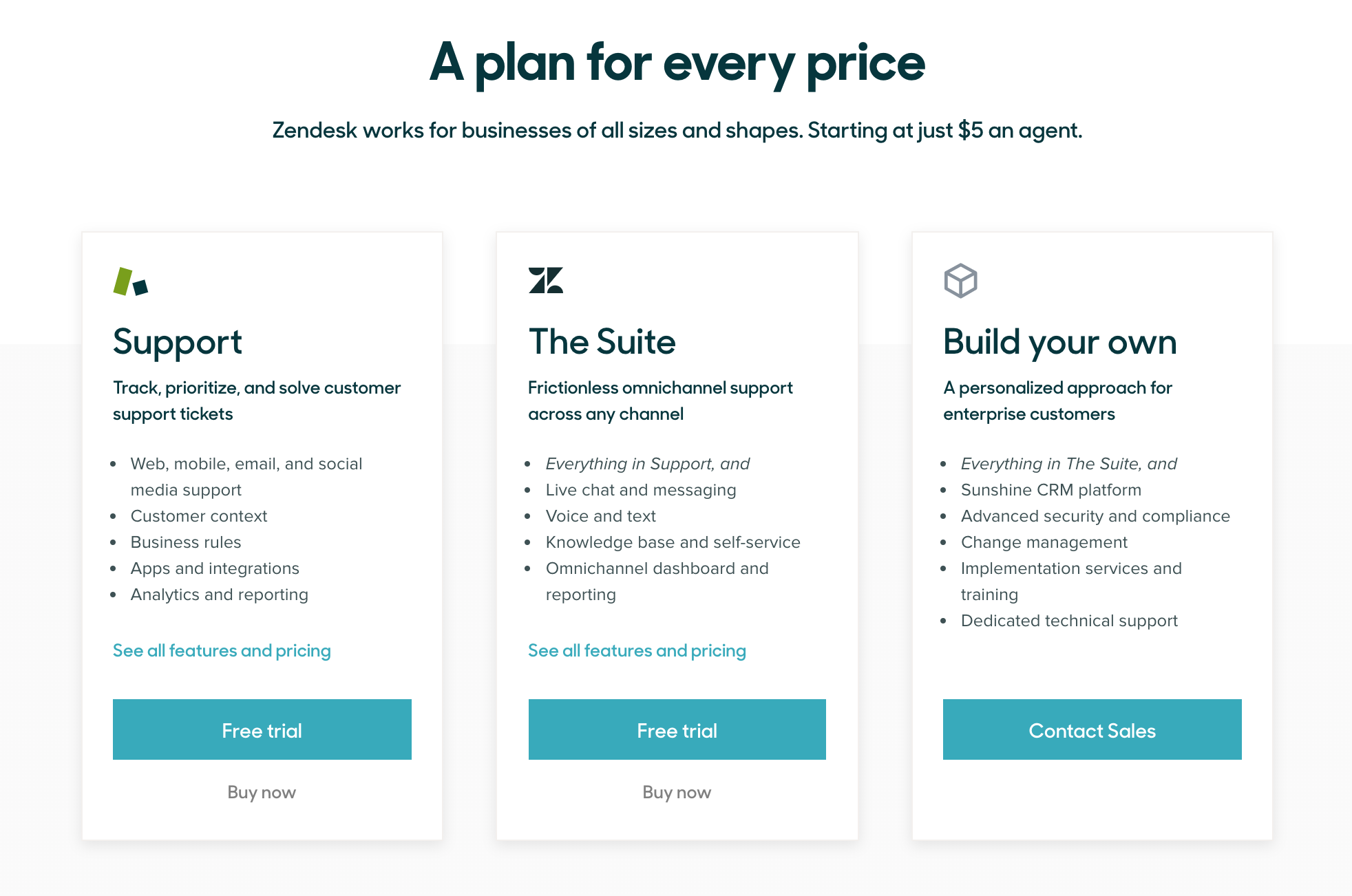 ZenDesk Pricing as of 2019-11-06