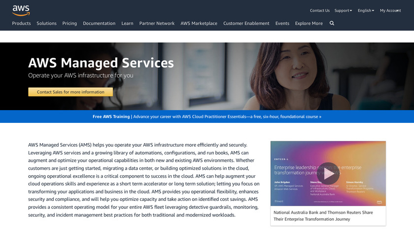 AWS Managed Services Landing Page