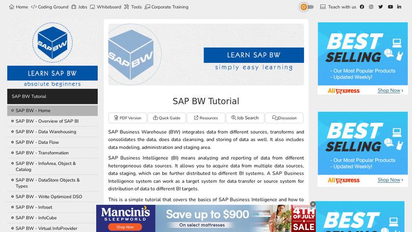 SAP BW Landing Page