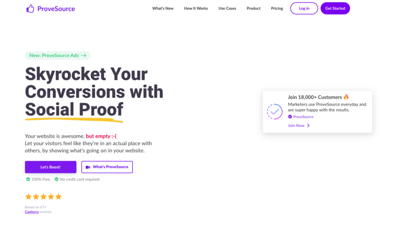 ProveSource Landing Page
