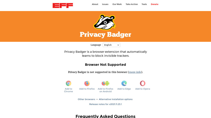 Privacy Badger Landing Page