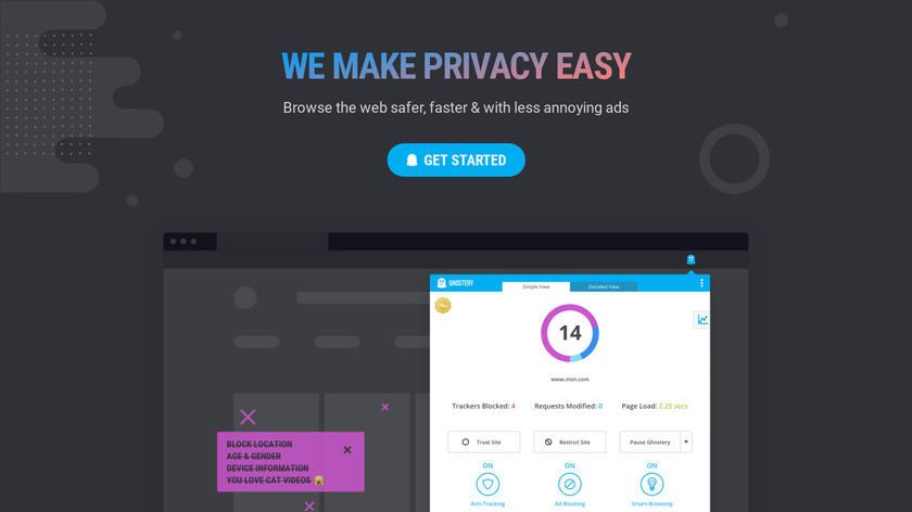 Ghostery Landing Page
