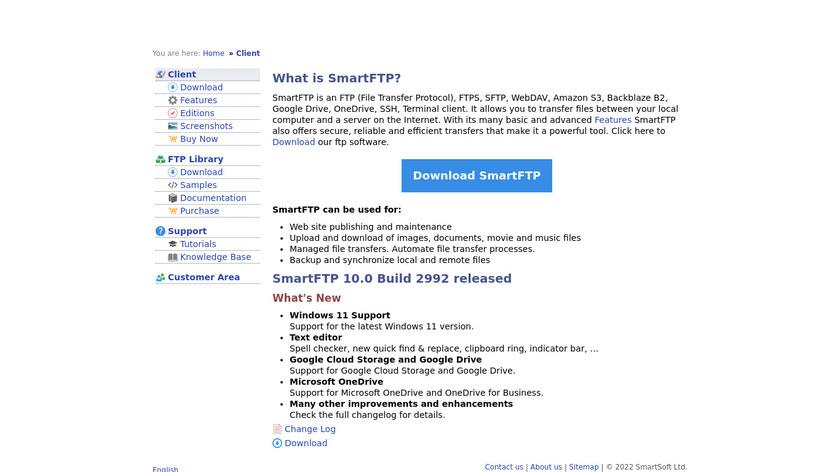 SmartFTP Landing Page