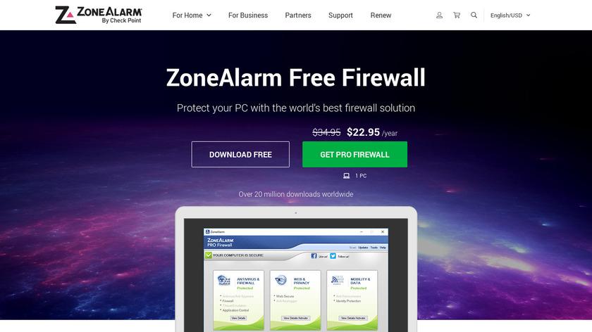 ZoneAlarm Free Firewall Landing Page