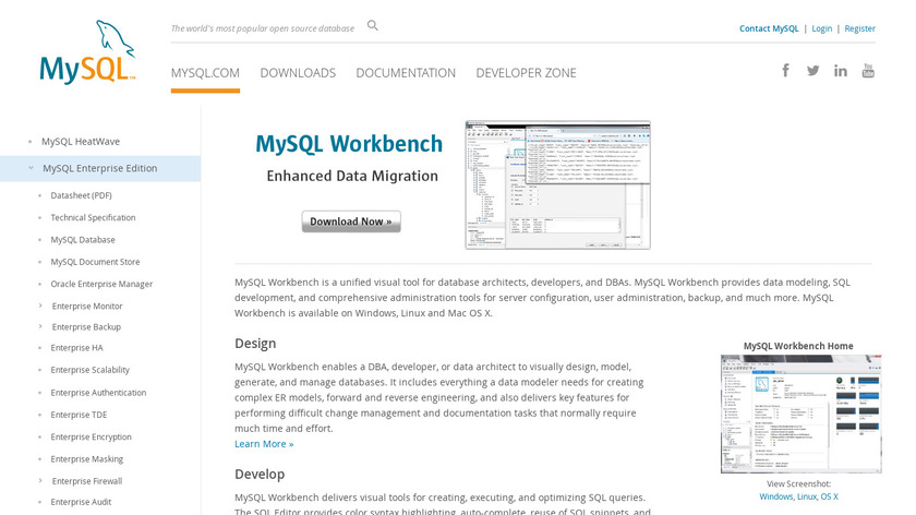 MySQL Workbench Landing Page
