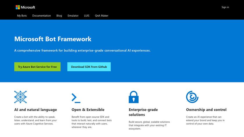 Microsoft Bot Framework Landing Page