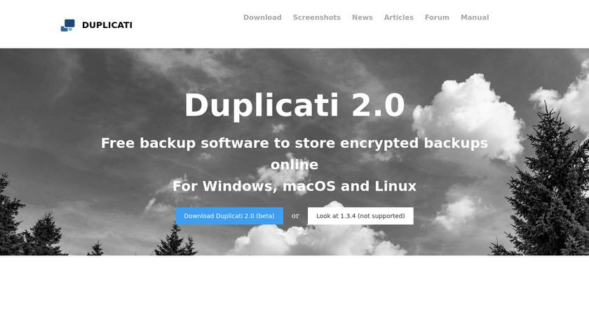 Duplicati Landing Page