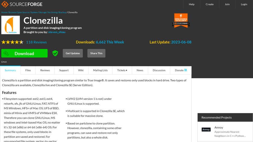 Clonezilla Landing Page