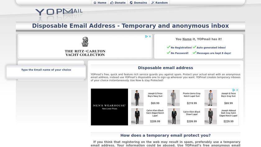YOPmail Landing Page