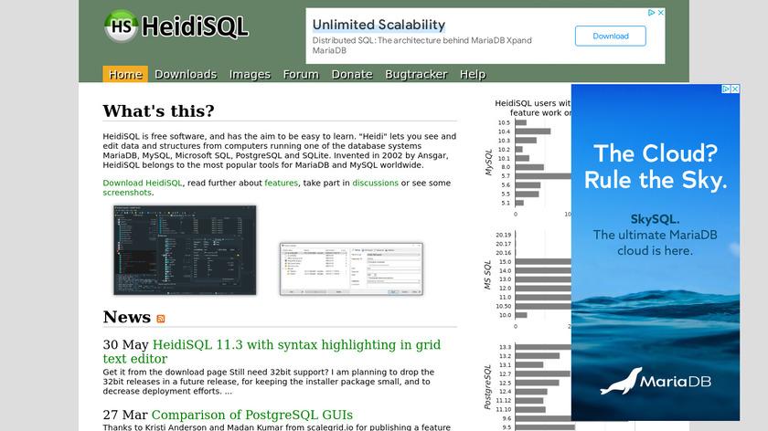 HeidiSQL Landing Page