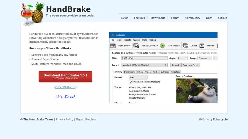 HandBrake Landing Page