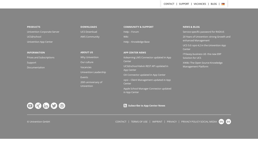 Univention Corporate Server Landing Page