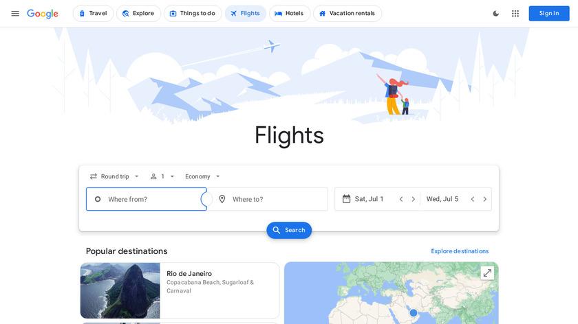 Google Flights Landing Page