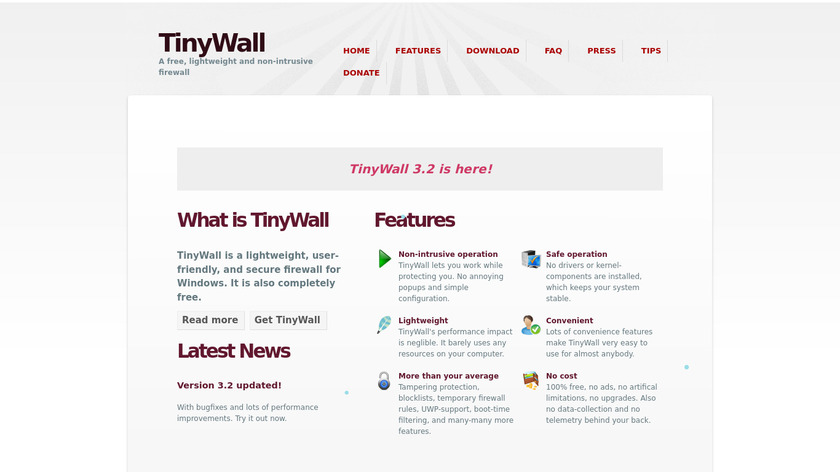 TinyWall Landing Page