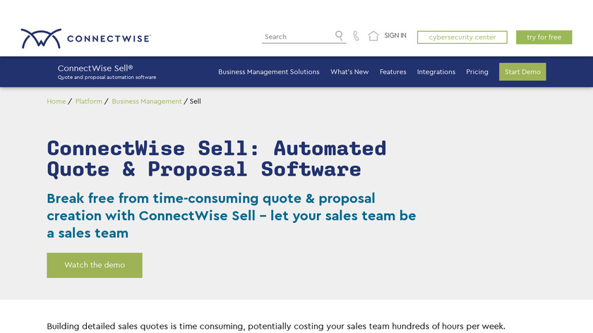 ConnectWise Sell Landing Page