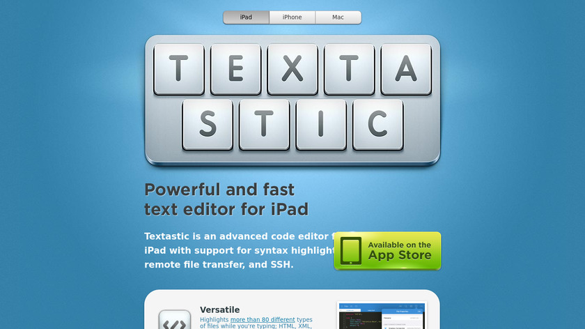 Textastic Landing Page