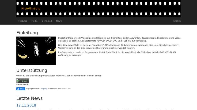 PhotoFilmStrip Landing Page