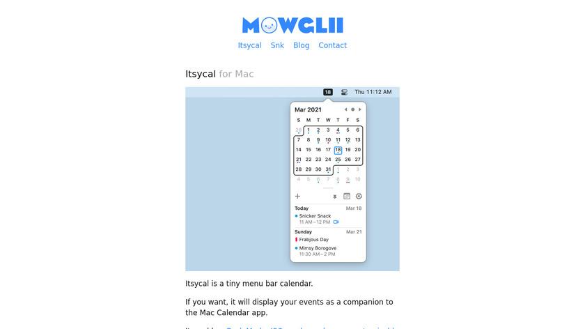 Itsycal Landing Page