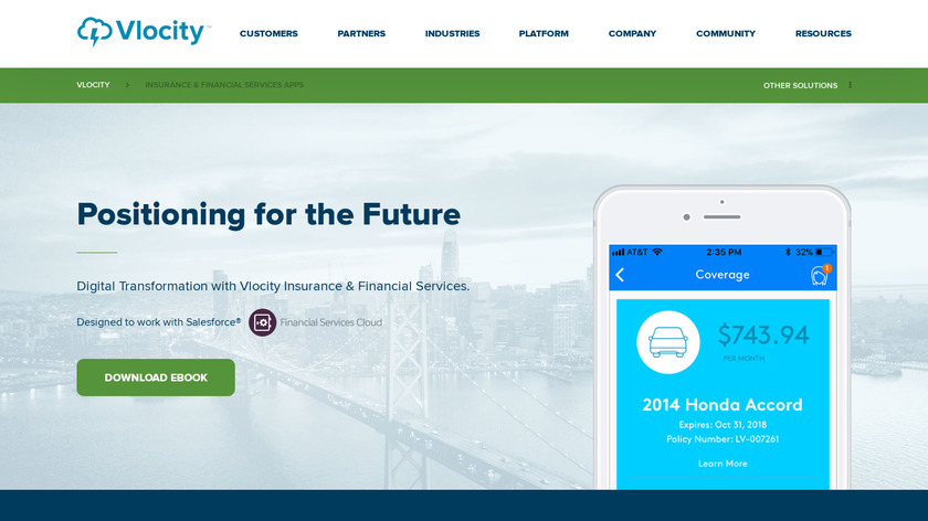 Vlocity Insurance Cloud Landing Page