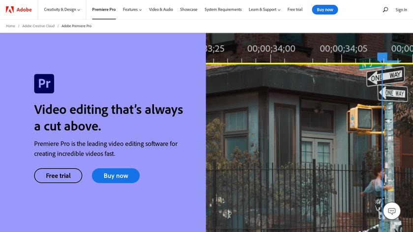 Adobe Premiere Pro Landing Page