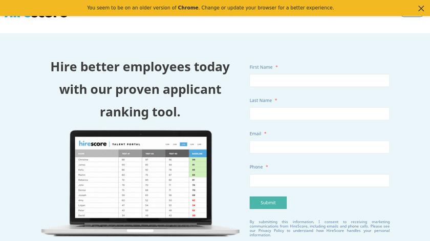 HireScore Landing Page