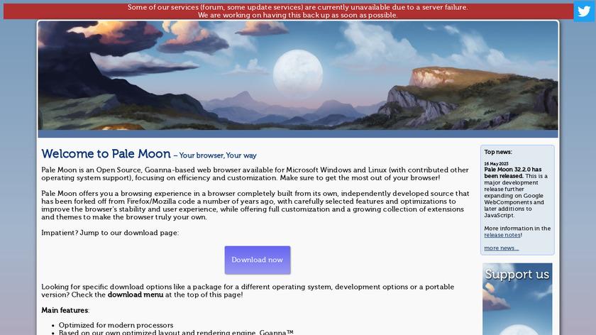 Pale Moon Landing Page