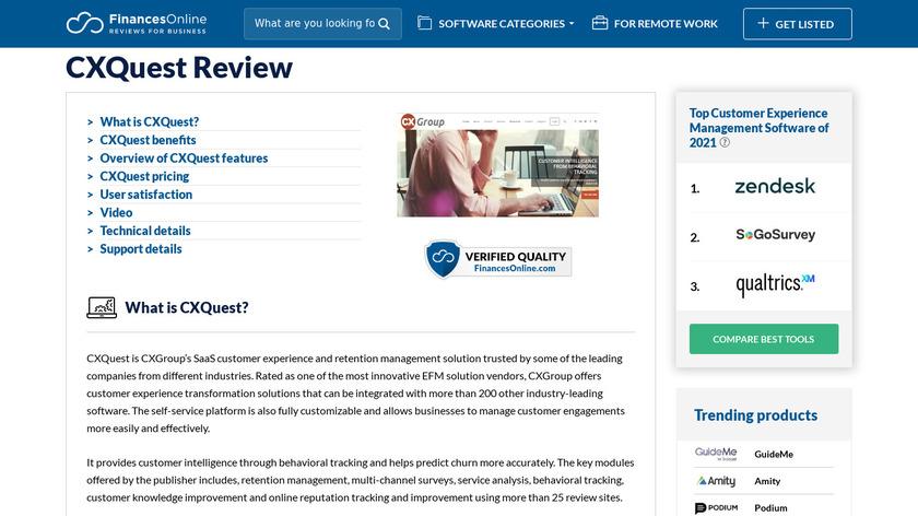 CXQuest Landing Page