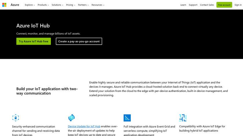 Azure IoT Hub Landing Page