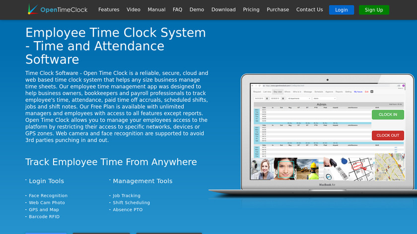Open Time Clock Landing Page