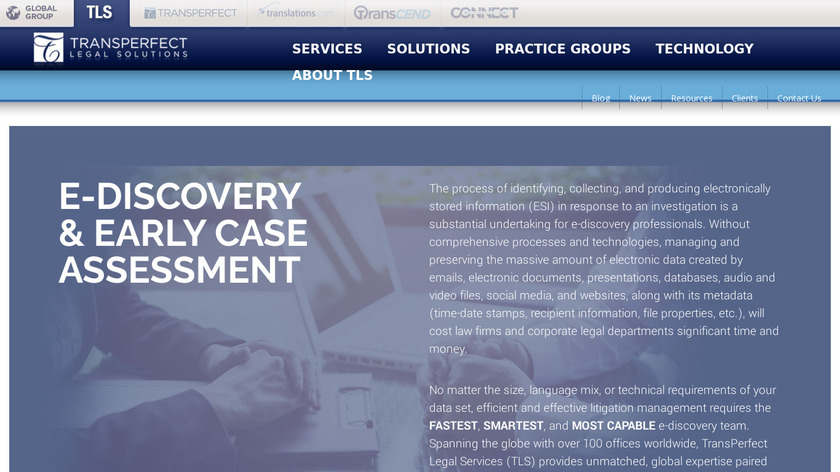 TransPerfect Group eDiscovery Landing Page