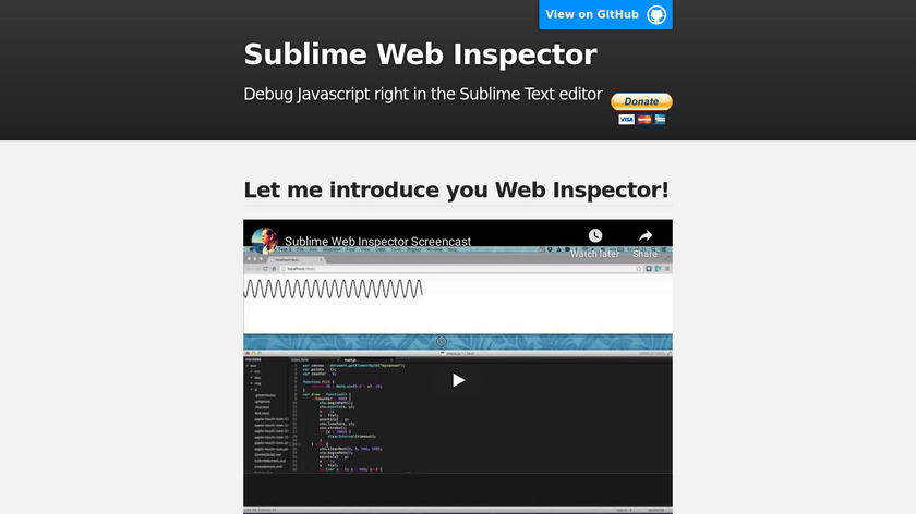 Sublime Web Inspector Landing Page