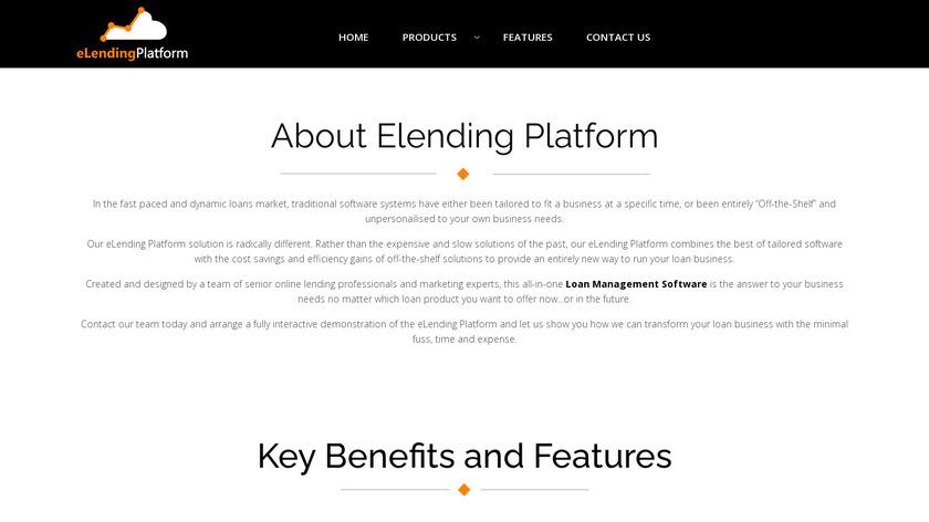 eLendingPlatform Landing Page